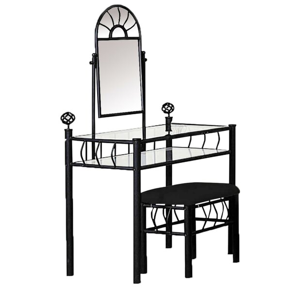 2 Piece Metal Vanity Set With Swivel Mirror Black By Red Barrel Studio