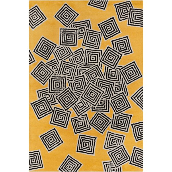 Burns Patterned Yellow & Black Area Rug by Wrought Studio