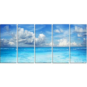 Bright Blue Waters and Sky Panorama 5 Piece Wall Art on Wrapped Canvas Set by Design Art