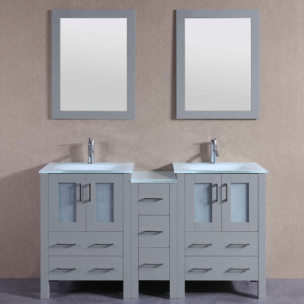 Jocelyn 60 Double Bathroom Vanity Set with Mirror by Bosconi