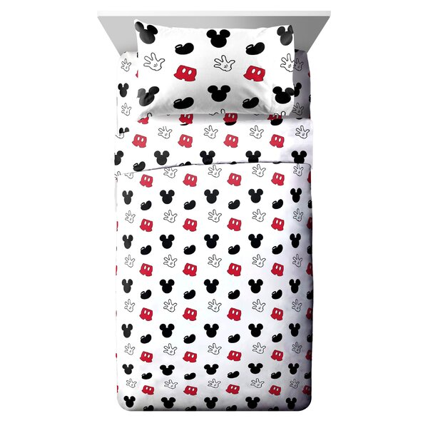 Disney Mickey Mouse Cute Faces Reversible Comforter Set (Set of 4) by Fingerlings