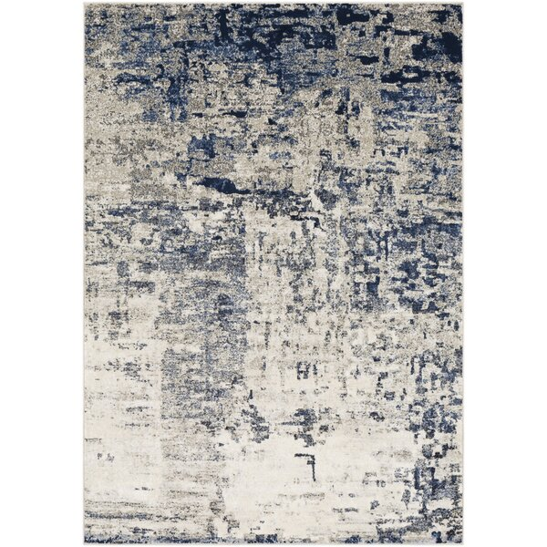 Hyacinth Modern Abstract Navy/Ivory Area Rug by Wrought Studio