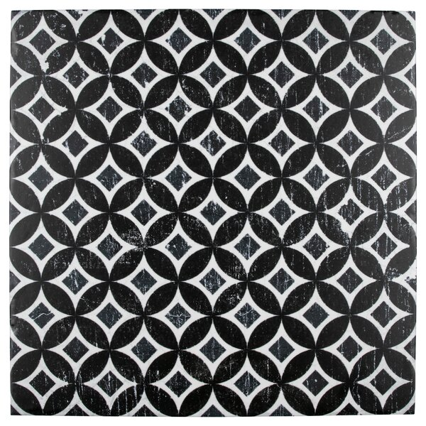 Karta 12.13 x 12.13 Porcelain Field Tile in Nero Deco Astro by EliteTile