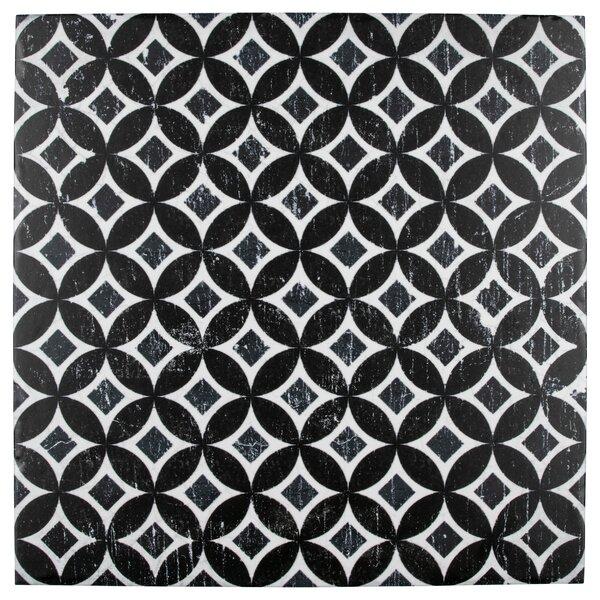 Karta 12.13 x 12.13 Porcelain Field Tile in Nero Deco Astro by EliteTile