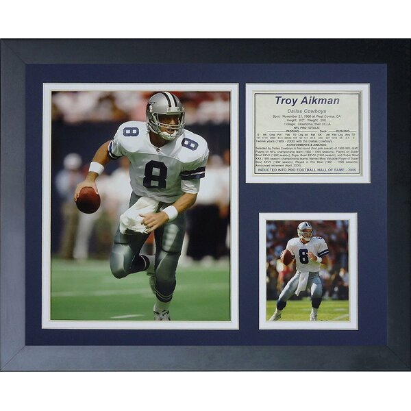 Troy Aikman Away Framed Photographic Print by Legends Never Die