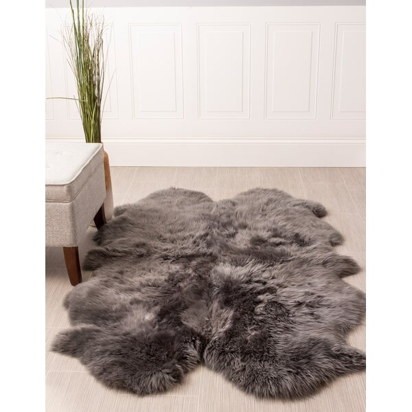 Moquin Genuine Fur Four Pelt Handmade Shag Sheepskin Gray Area Rug by Bloomsbury Market