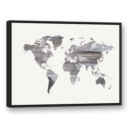 Brayden studio white world map framed watercolor painting print on canvas wayfair white world map framed watercolor painting print on canvas gumiabroncs Image collections