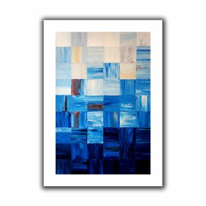 Bluesquares' by Shiela Gosselin Painting Print on Rolled Canvas by ArtWall