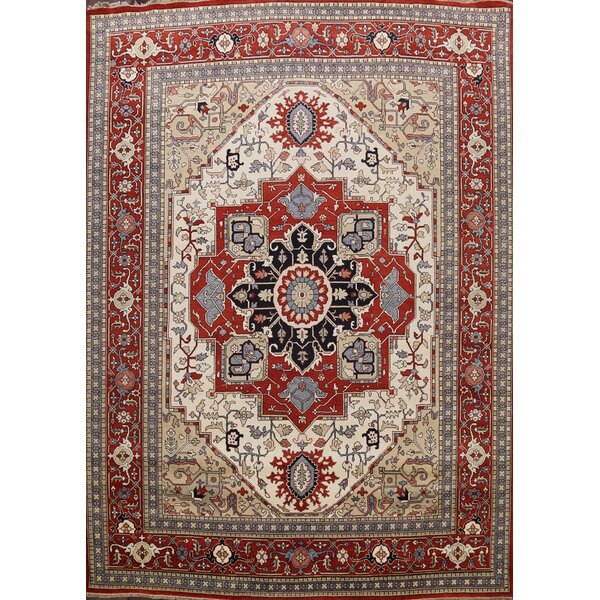 Ammadis Hand Knotted Wool Ivory/Red/Blue Rug
