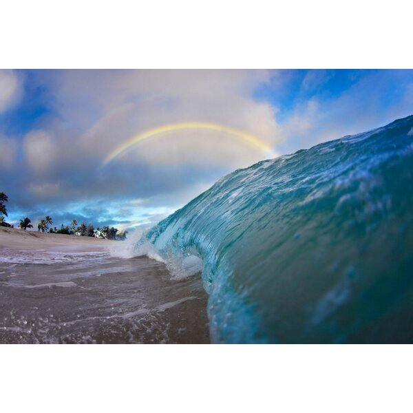 Rainbow Ocean Photographic Print on Wrapped Canvas by 3 Panel Photo