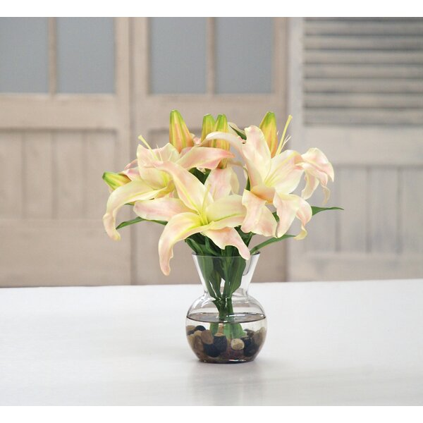 Lily Centerpiece in Vase by Darby Home Co