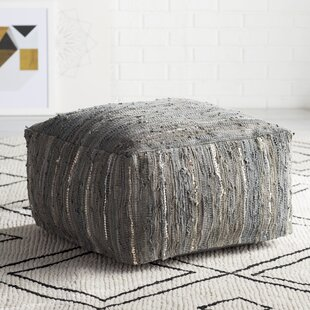 Clearance Anthracite Leather Pouf By Surya