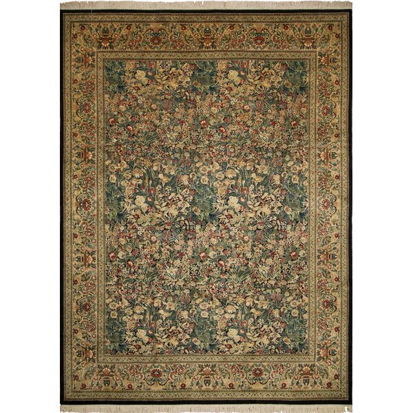 One-of-a-Kind Abarca Hand Knotted Wool Green/Beige Area Rug by Isabelline