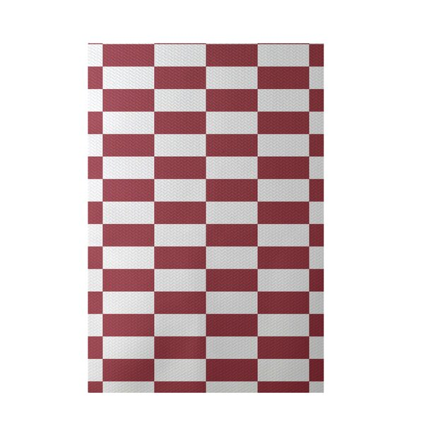 Plaid Hand-Woven Rust Indoor/Outdoor Area Rug by e by design