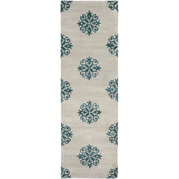 Marcello Hand-Woven Wool Ivory/Green Area Rug by Alcott Hill