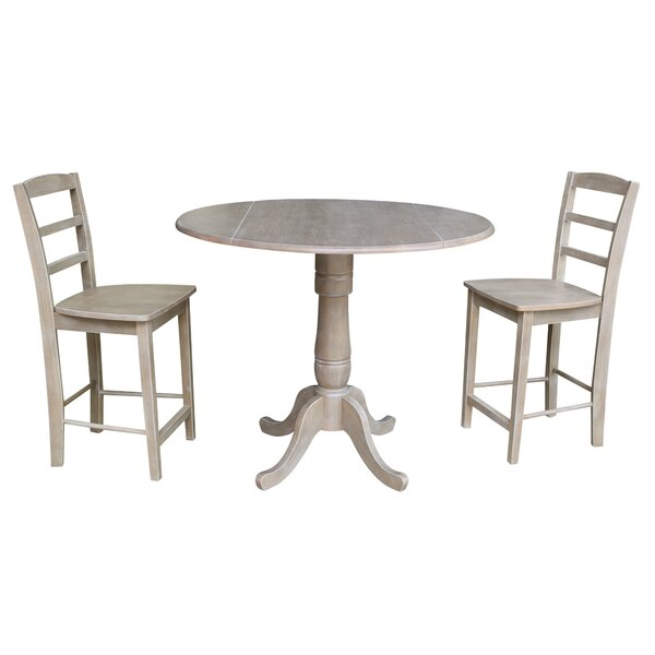 Spiva Round Top Pedestal Extending 3 Piece Pub Table Set by August Grove