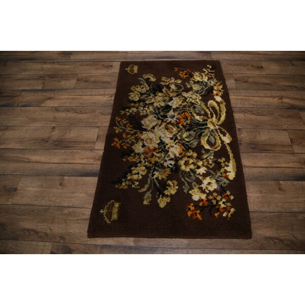 Willow Traditional Rya Sweden Oriental Hand-Knotted Wool Beige/Brown Area Rug by Astoria Grand