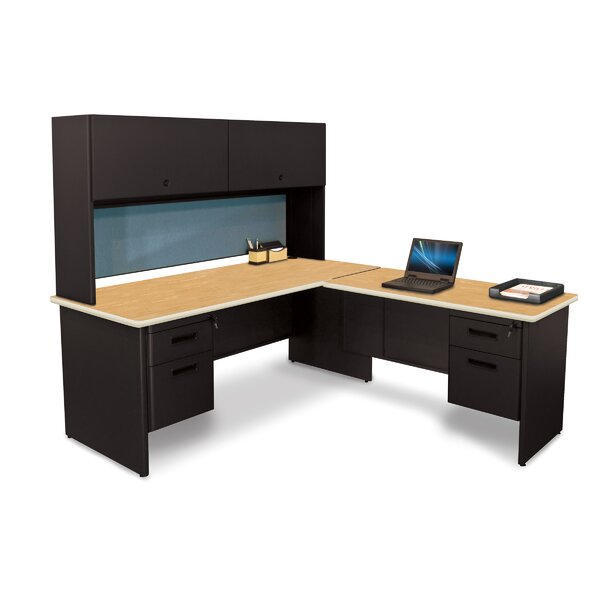 Pronto L-Shape Executive Desk with Hutch by Marvel Office Furniture