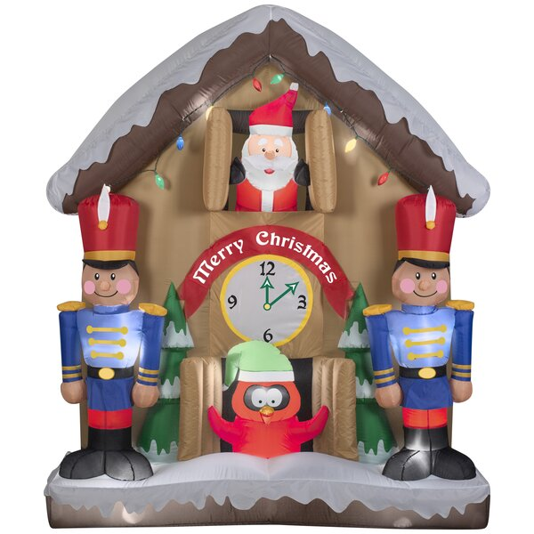 Animated Santa Clock Christmas Oversized Figurine