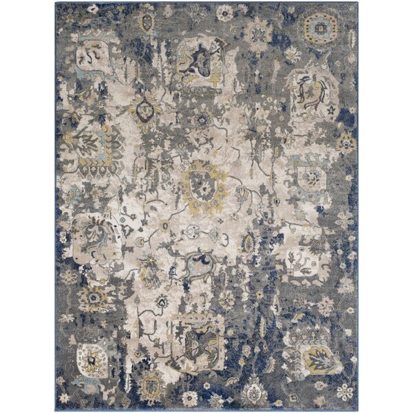 Valmar Distressed Charcoal/Navy Area Rug by World Menagerie