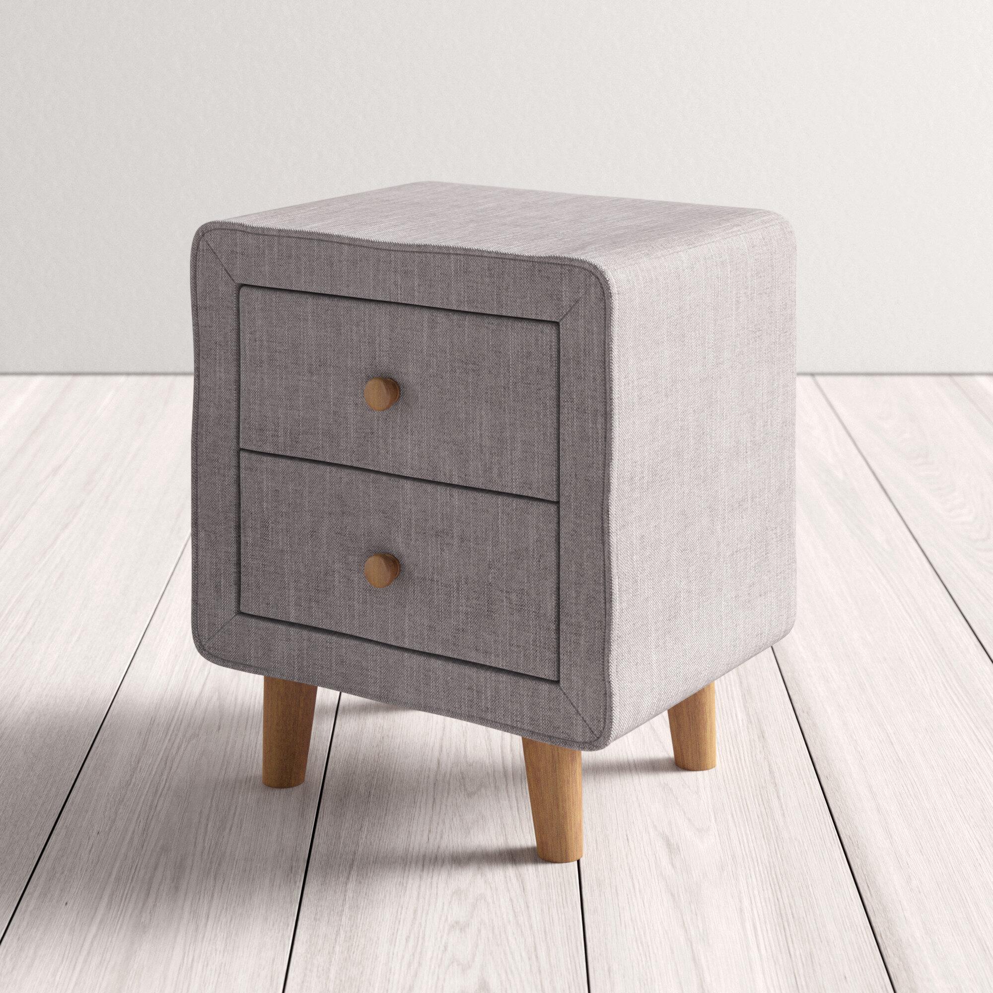 Wrought Studio Kisor Mid Century Upholstered 2 Drawer Nightstand