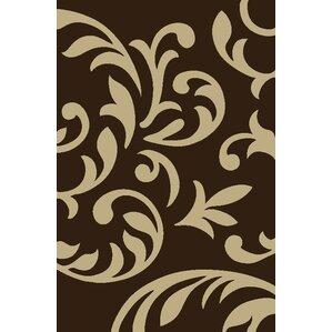 modern swirl brown area rug