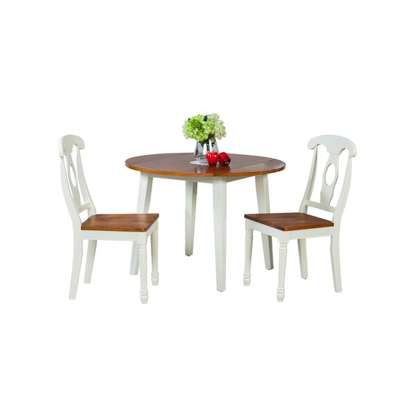 Dinh Modern 3 Piece Drop Leaf Solid Wood Dining Set by Latitude Run
