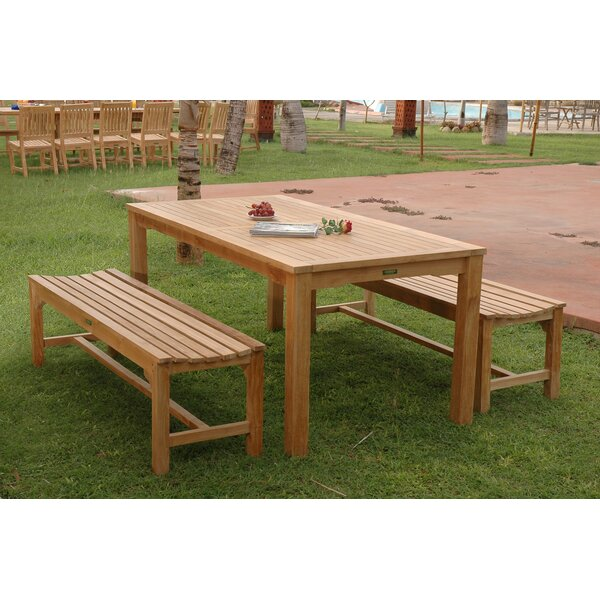 Farnam 3 Piece Teak Dining Set by Rosecliff Heights