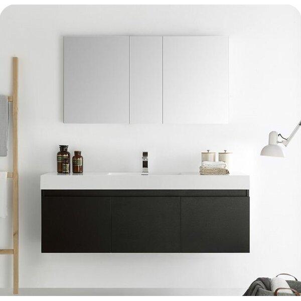 Senza 60 Mezzo Single Wall Mounted Modern Bathroom Vanity Set with Mirror by Fresca