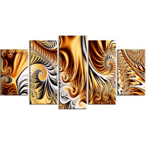Gold/Silver Ribbons 5 Piece Graphic Art on Wrapped Canvas Set by Design Art