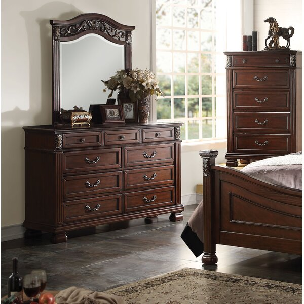 Eggert 9 Drawer Double Dresser with Mirror by Astoria Grand