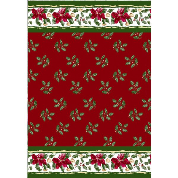 Christmas Floral Holiday Print Shower Curtain Set by Carnation Home Fashions