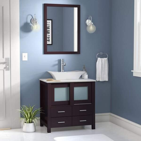 Caufield 30 Single Bathroom Vanity Set with Mirror by Wade Logan