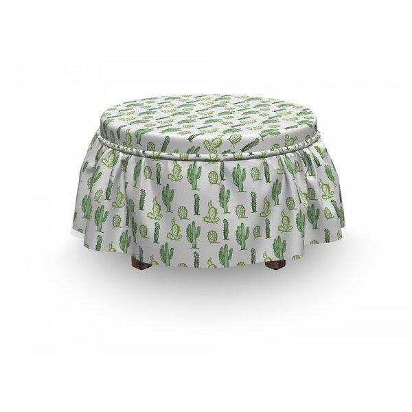 Cactus Cartoon Doodle Flora 2 Piece Box Cushion Ottoman Slipcover Set By East Urban Home