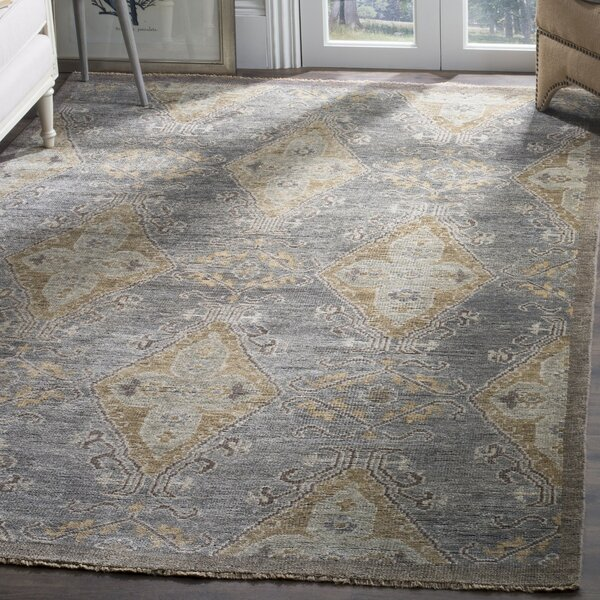 Kline Hand-Knotted Wool Charcoal Area Rug by Bungalow Rose