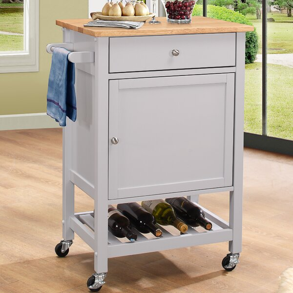 Chelmsford Kitchen Cart with Wood Top by Red Barrel Studio