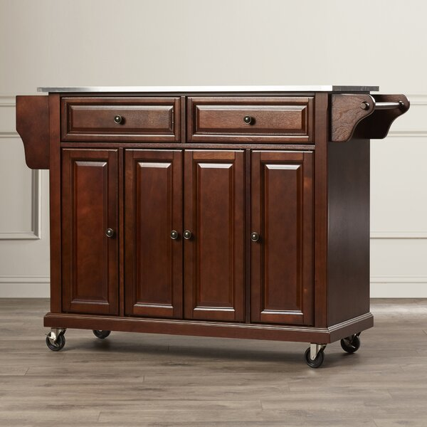 Hedon Kitchen Island with Stainless Steel Top by Three Posts