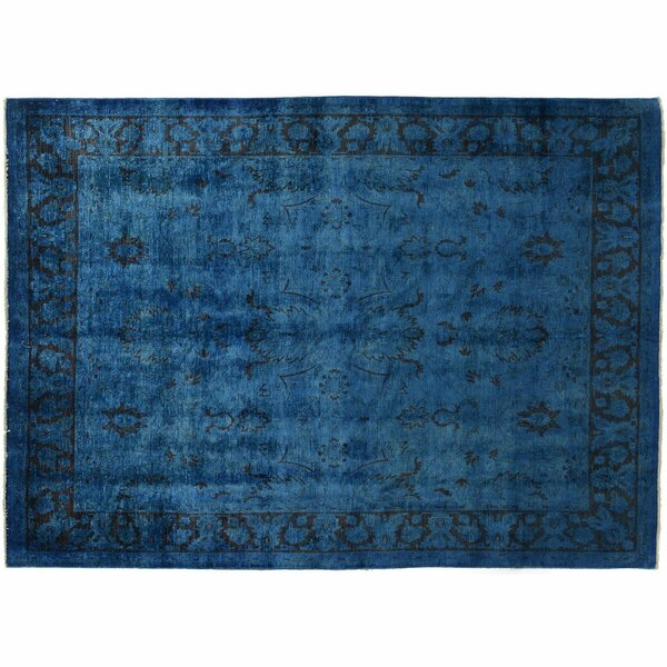 One-of-a-Kind Hand-Knotted Royal Blue 7'9 x 10'4 Wool Area Rug