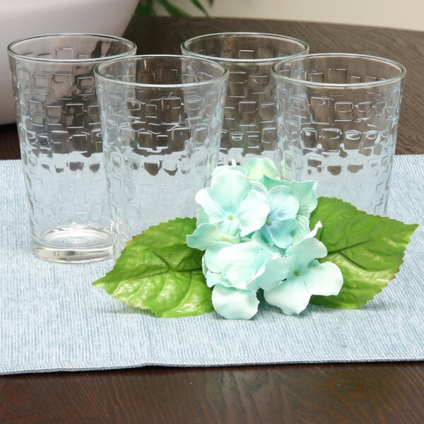 Bryer Embossed 16 oz. Glass Every Day Glasses (Set of 4) by Ebern Designs