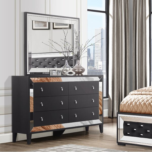 Catania 6 Drawer Double Dresser With Mirror By Everly Quinn by Everly Quinn #1