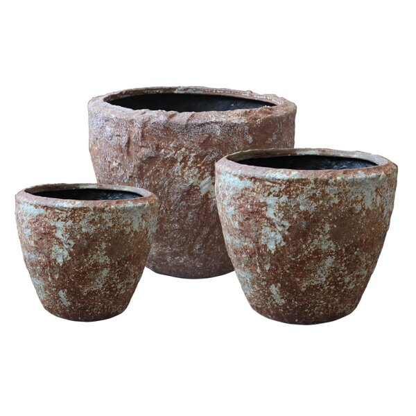 3-Piece Stone Pot Planter Set by Screen Gems
