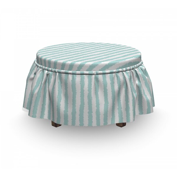 Sketchy Grunge Stripes 2 Piece Box Cushion Ottoman Slipcover Set By East Urban Home