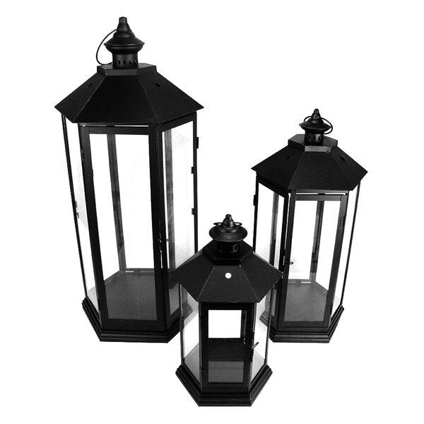 3 Piece Metal and Glass Lantern Set by Northlight Seasonal