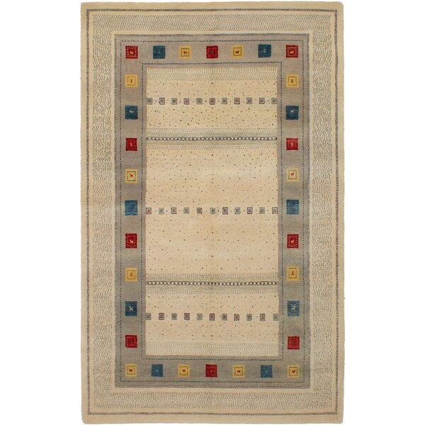 One-of-a-Kind Remy Hand-Knotted Wool Cream Area Rug by World Menagerie