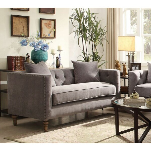 Gray Velvet Loveseat With 2 Pillows By Canora Grey