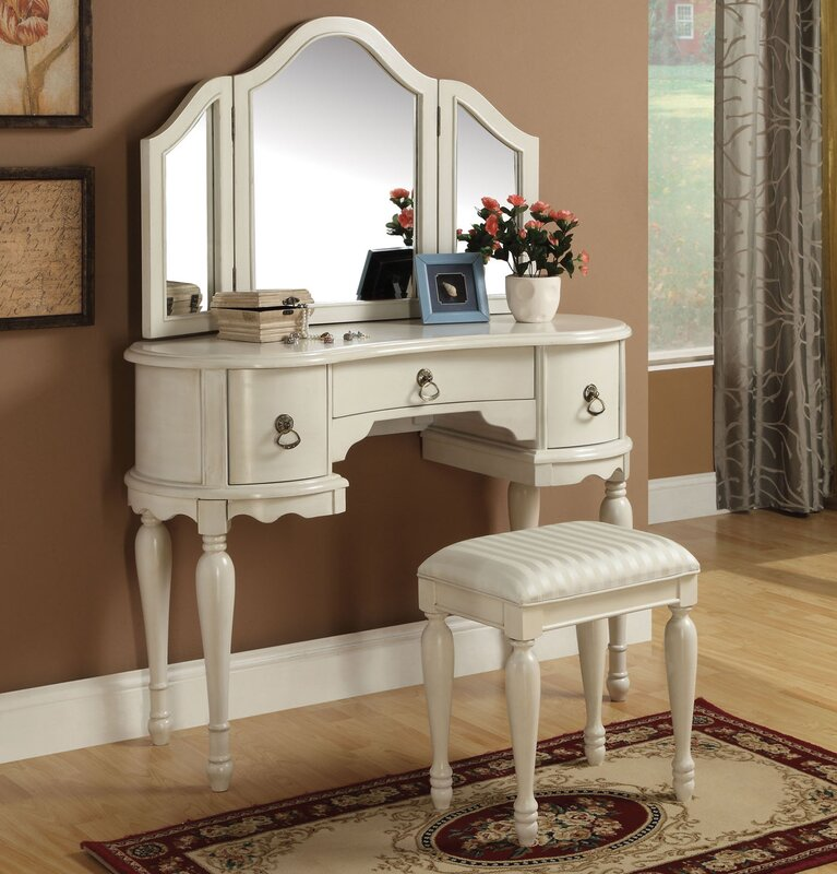 Makeup Vanity Set with MirrorInfini Furnishings Makeup Vanity Set with Mirror   Reviews   Wayfair. Mirrored Makeup Vanity Set. Home Design Ideas