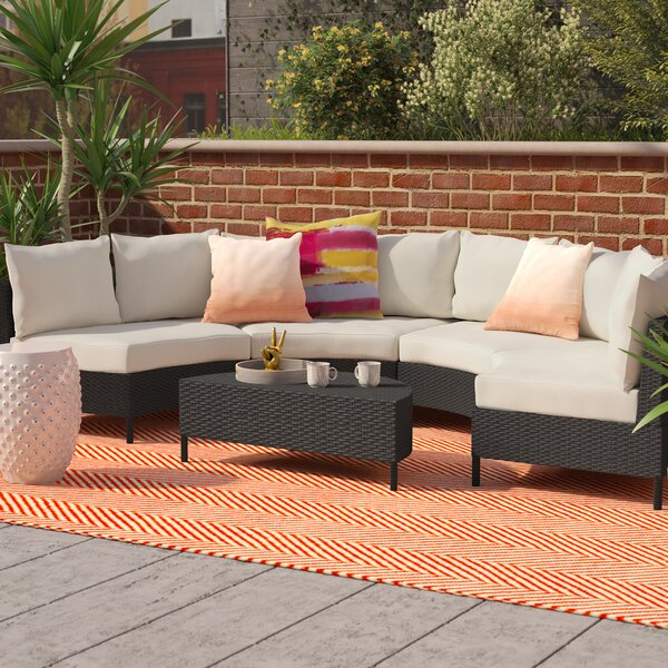Dowd Low Profile 5 Piece Rattan Sectional Set with Cushions by Mercury Row