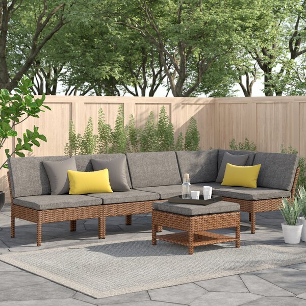 Maryann Patio Garden 6 Piece Rattan Sectional Seating Group with Cushions by Zipcode Design