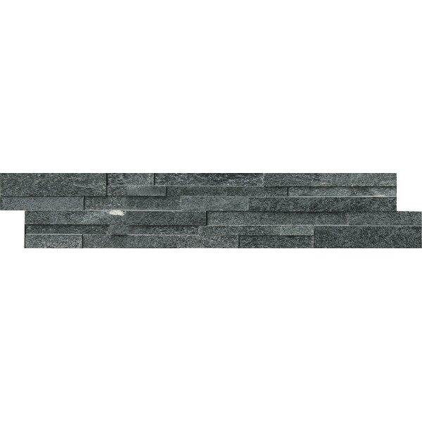 6 x 18 Quartzite Splitface Tile in Black by MSI