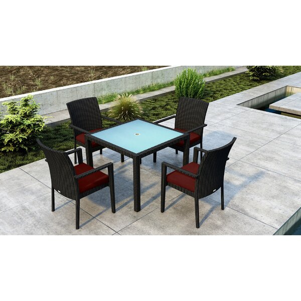 Glendale 5 Piece Dining Set with Sunbrella Cushion by Everly Quinn